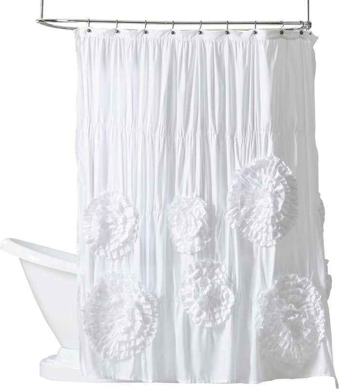 Beautiful Blossoms White Ivory Shower Curtain