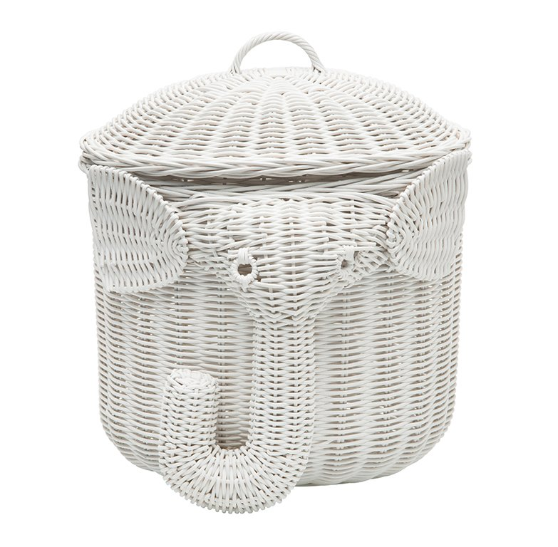 Elephant wicker laundry basket nursery toys home white - Elephant hamper wicker ...