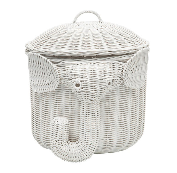 Elephant Wicker Laundry Basket Nursery Toys Home White - GoGetGlam Boho Style