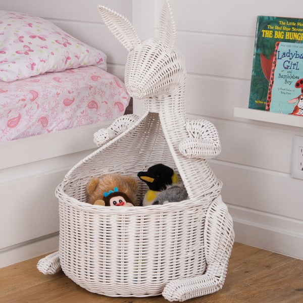 Kangaroo Wicker Laundry Basket Nursery Toys Home White - GoGetGlam Boho Style