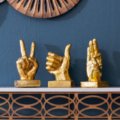 3PC Metallic Gold Hand Sculptures SET - GoGetGlam Boho Style