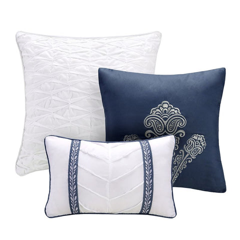 Mirella Navy Boho Medallion 6PC Coverlet Bed Set - GoGetGlam Boho Style