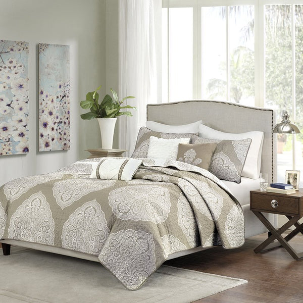 Mirella Tan Boho Medallion 6PC Coverlet Bed Set-GoGetGlam