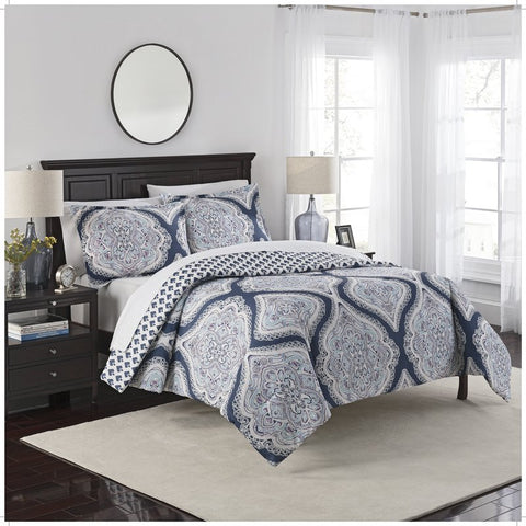 Moroccan Damask Navy 3PC Reversible Comforter Set-GoGetGlam