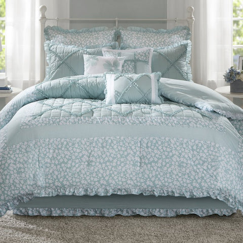 Stephanie Country Cotton Floral 9PC Comforter Set - Boho Bohemian Decor