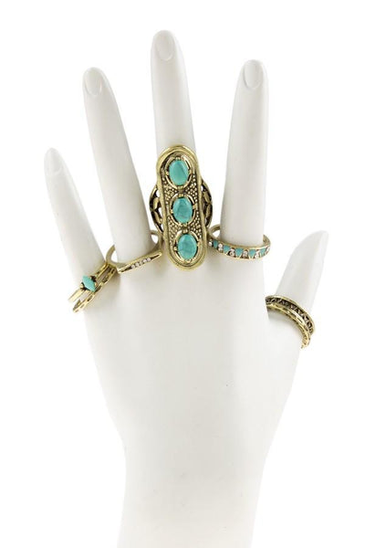 Semi Precious Stone Boho Ring SET in Gold - GoGetGlam Boho Style