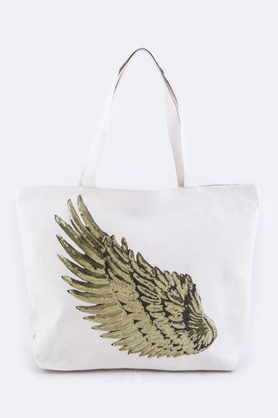Sequin Angel Wing Tote Bag in 3 Colors-GoGetGlam