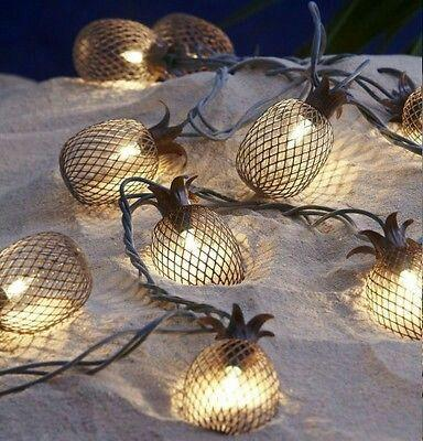 Set of 10 Metal Pineapple Shaped Lanterns String Lights - Boho Bohemian Decor