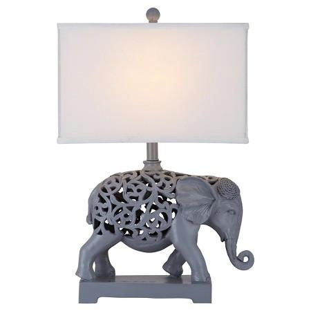 Set of 2 Bohemian Elephant Theme Table Lamps - Boho Bohemian Decor