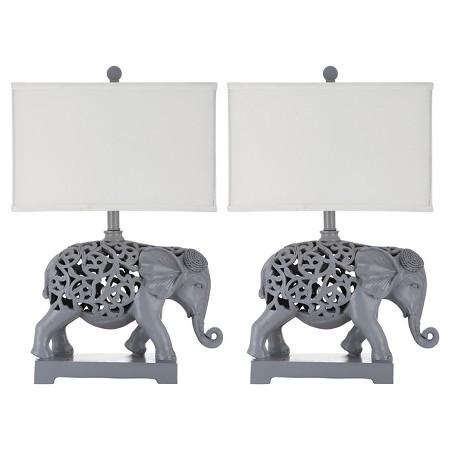 Set of 2 Bohemian Elephant Theme Table Lamps-GoGetGlam