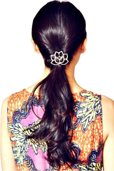 Set of 2 Boho Lotus Flower Hair Barrette - GoGetGlam Boho Style