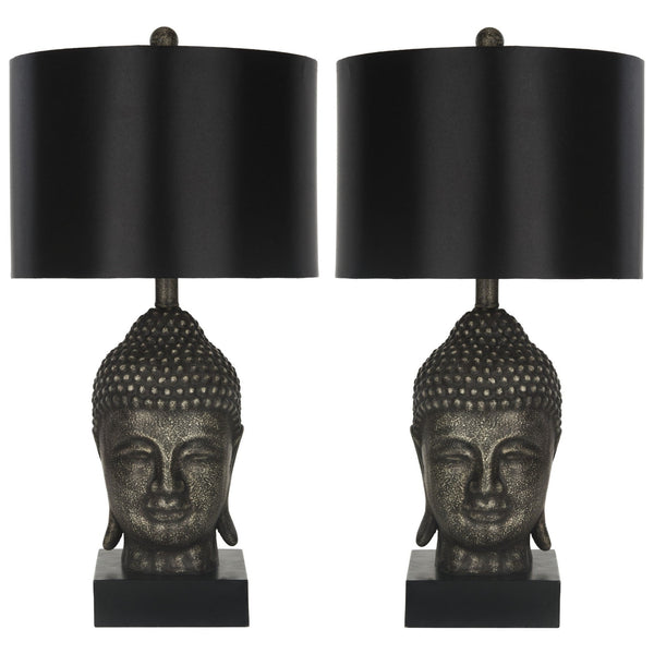 Set of 2 Bronzed Gold Buddha Table Lamps - Boho Bohemian Decor