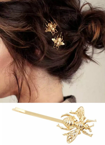 Set of 2 Gold Bumble Bee Hair Pins-GoGetGlam