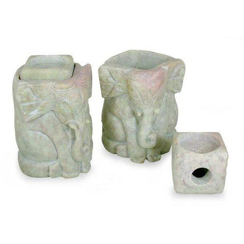 Set of 2 Hand Carved Soapstone Elephant Candleholders-GoGetGlam