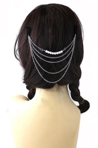 Set of 2 Metal Chain Pearl Hair Cuff Combs - GoGetGlam Boho Style