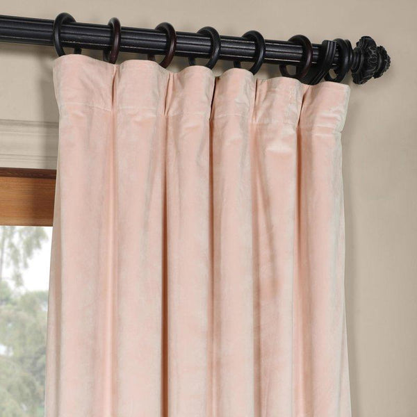 Set Of 2 Millennial Pink Luxe Velvet Curtain Panels