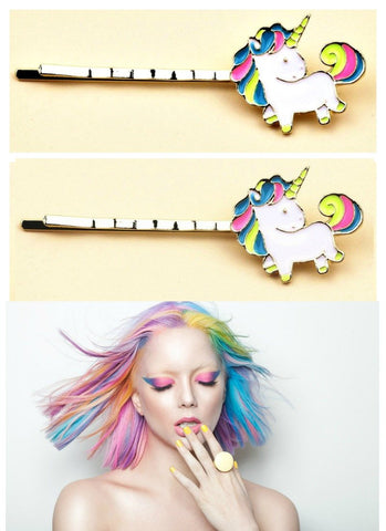 Set of 2 Rainbow Unicorn Hair Pins - Boho Bohemian Decor