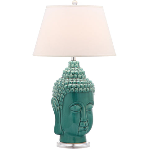 Set of 2 Tall Teal Buddha Table Lamps - Boho Bohemian Decor