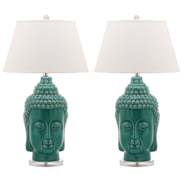 Set of 2 Tall Teal Buddha Table Lamps-GoGetGlam