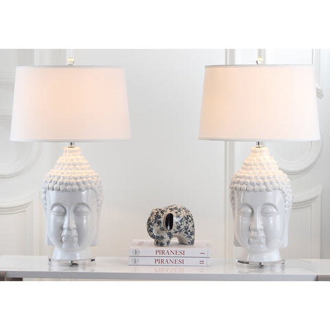 Set of 2 Tall White Buddha Table Lamps - Boho Bohemian Decor