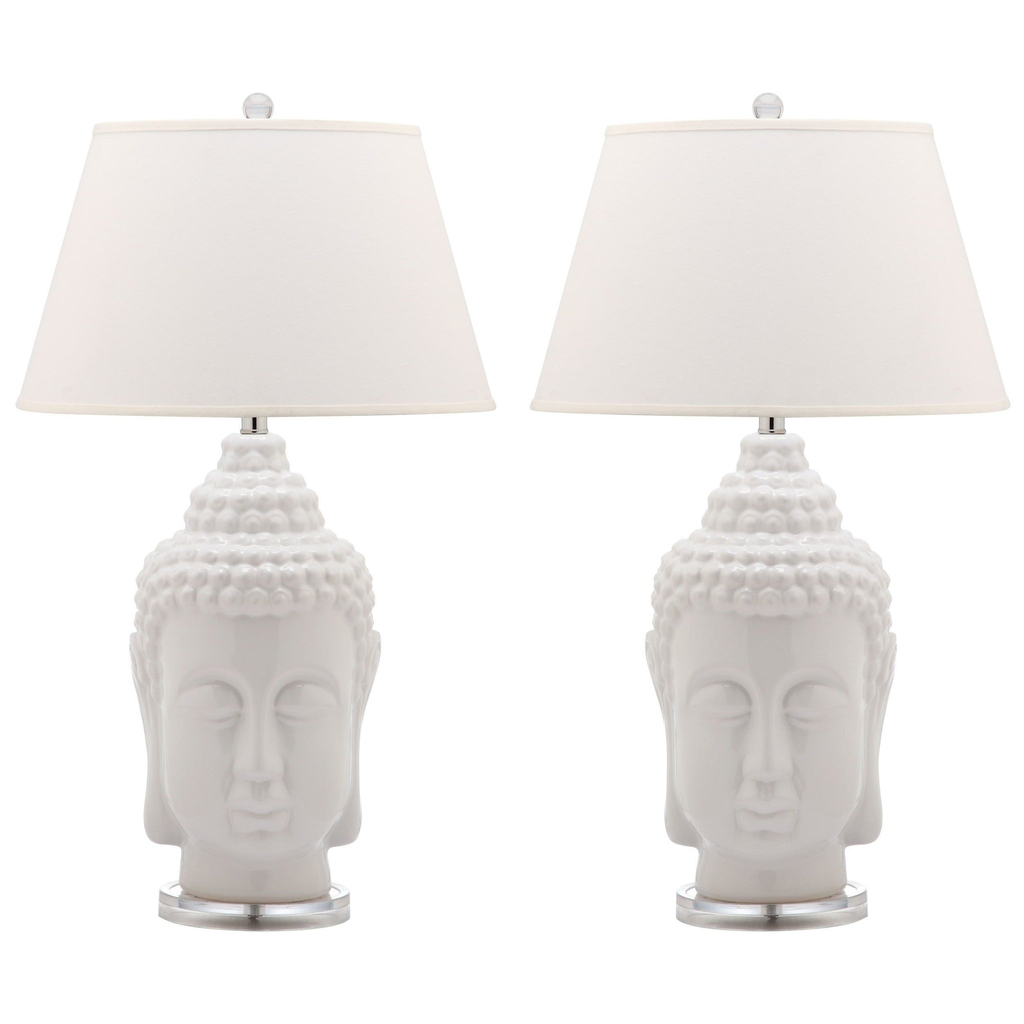 Set of 2 tall white buddha table lamps aloadofball Images