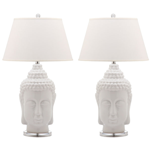Set of 2 Tall White Buddha Table Lamps-GoGetGlam