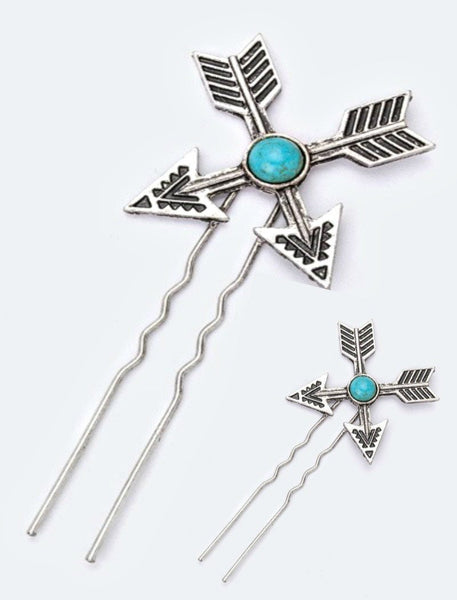 Set of 2 Turquoise Arrow Hair Pin - Boho Bohemian Decor