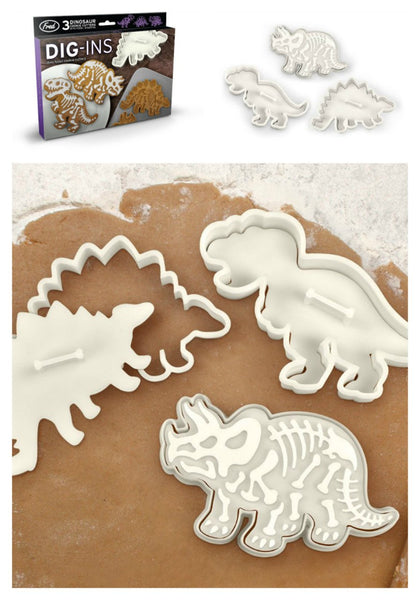Set of 3 Dinosaur Cookie Cutter Stamp-GoGetGlam