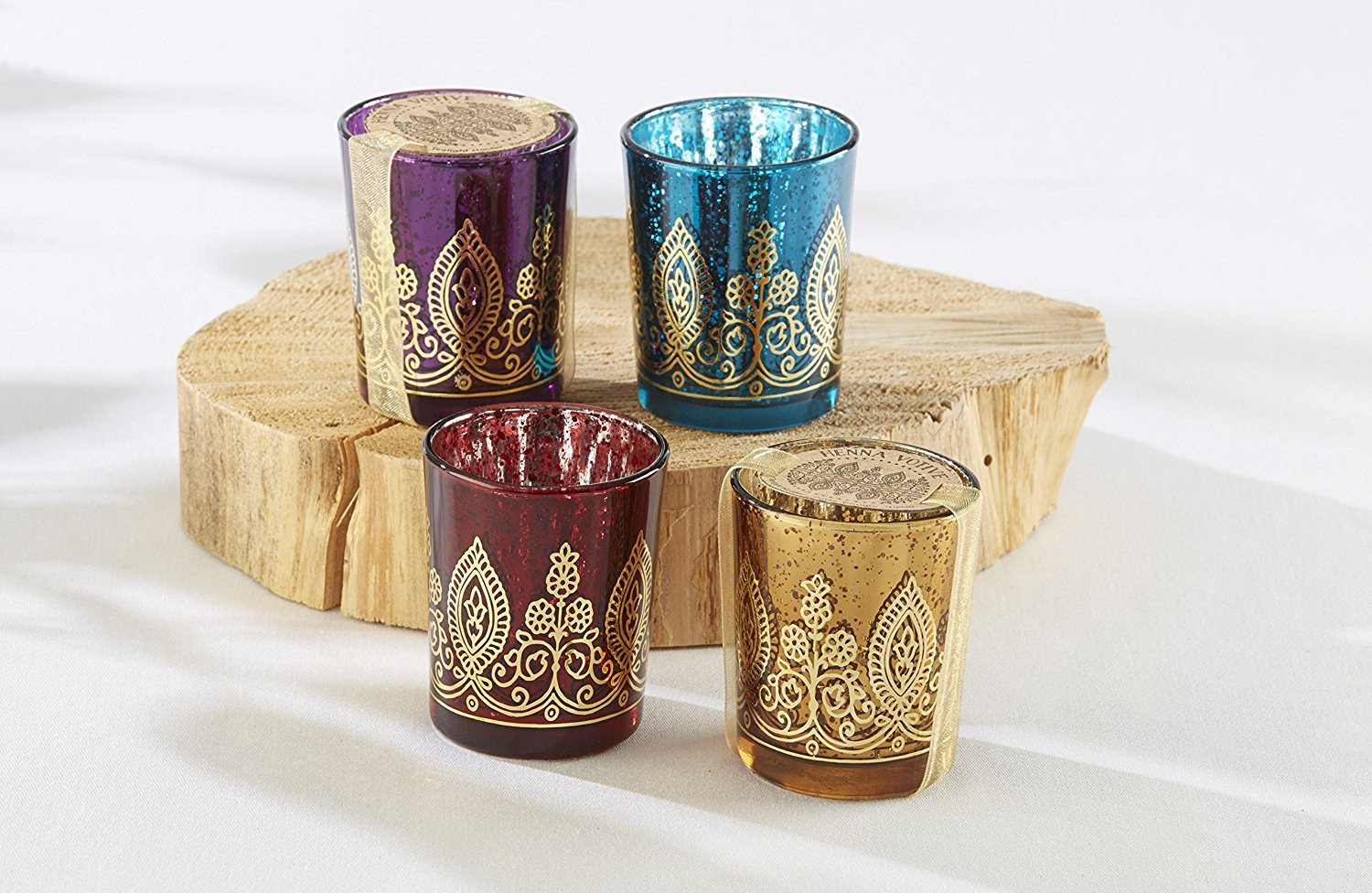 Set of 4 Kate Aspen Glass Mercury Henna Boho Votive Holders-GoGetGlam