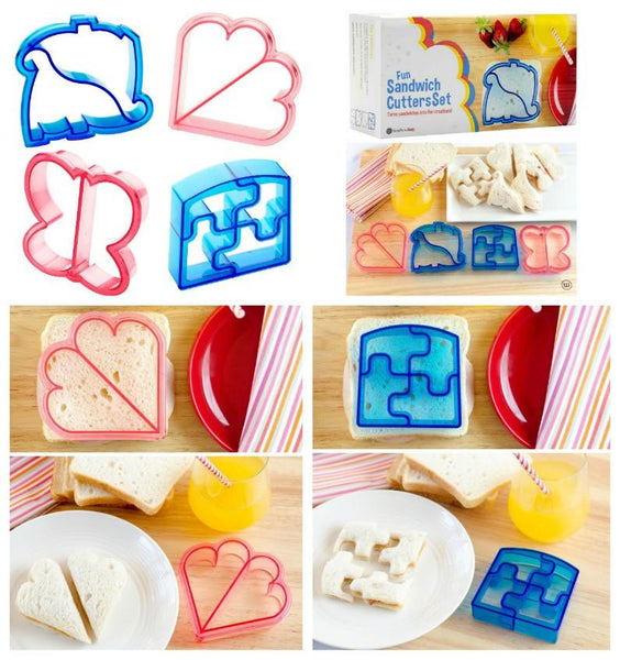 Set of 4 Kids Themed Shapes Sandwich Cutters - Boho Bohemian Decor
