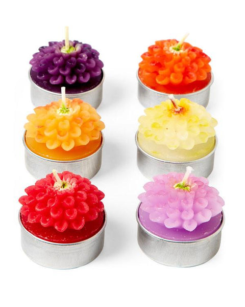 Set of 6 Zinnia Flower Tealight Candles-GoGetGlam