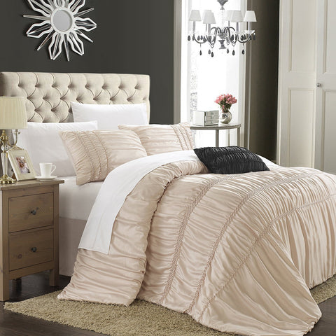 Sienna Ruched Braided Detail Silver 5PC Comforter Bedding Set - GoGetGlam Boho Style