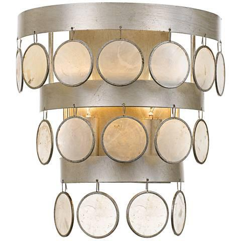 Silver and Capiz Shell Wall Sconce-GoGetGlam