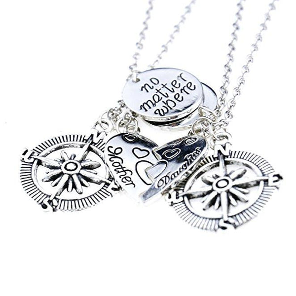 Silver Best Friends BFF Compass Necklaces Set-GoGetGlam