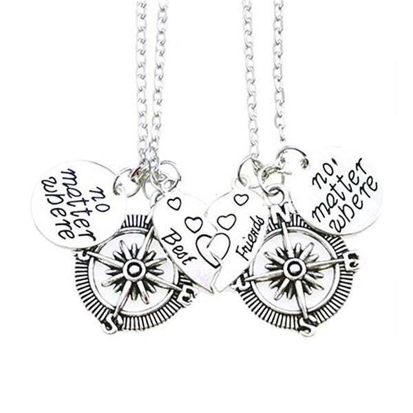 Silver Best Friends BFF Compass Necklaces Set - GoGetGlam Boho Style