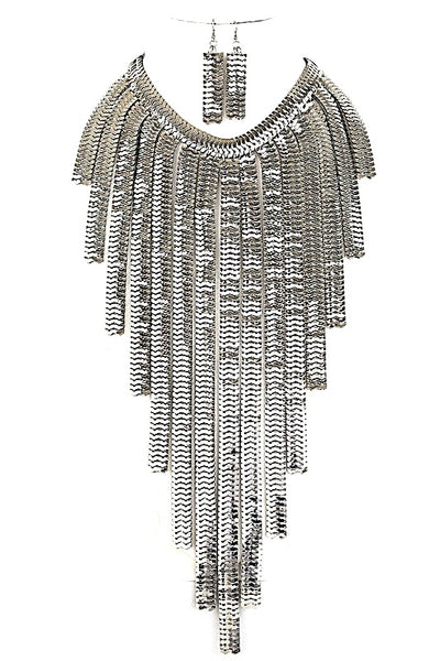 Silver Waterfall Chain Necklace & Earrings SET-GoGetGlam