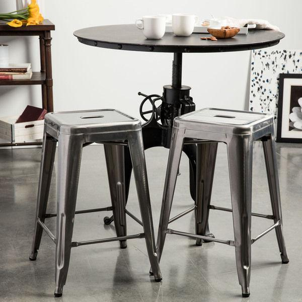 Simply Stainless 24 inch Gloss Bar Stools - Set of 2 - GoGetGlam Boho Style
