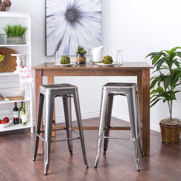 Simply Stainless 30 inch Gloss Bar Stools - Set of 2 - GoGetGlam Boho Style