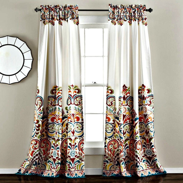 Sirina Boho Moroccan Paisley Floral Window Curtain Panel SET-GoGetGlam