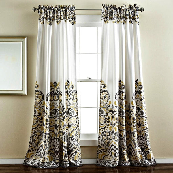 Sirina Boho Moroccan Paisley Gray Floral Window Curtain Panel SET-GoGetGlam