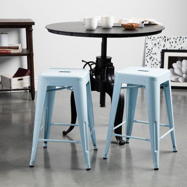 Sitting Seaside Blue 24 inch Gloss Bar Stools - Set of 2 - GoGetGlam Boho Style