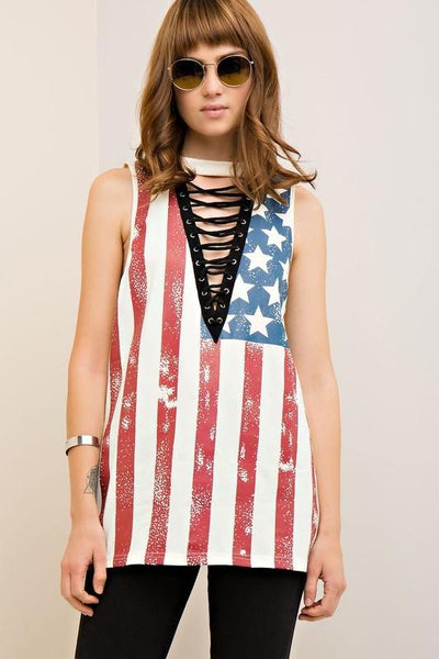 Sleeveless American Flag Lace-Up Top-GoGetGlam