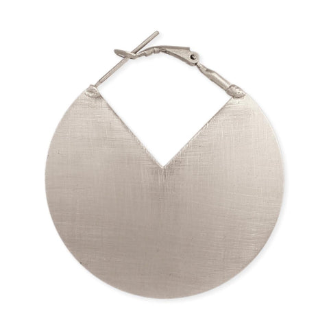 Slice Of Life Brushed Silver Earrings-GoGetGlam
