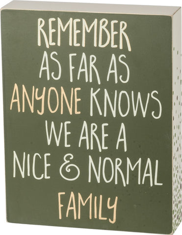Nice and Normal Family Wood Block Sign - Boho Bohemian Decor