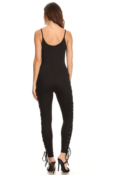 Solid Black Stretch Laced Leg Jumpsuit-GoGetGlam