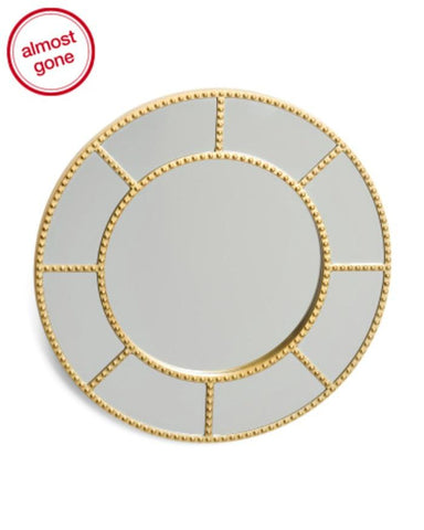 "Sophia 20"" Round Stud Accent Gold Wall Mirror - GoGetGlam Boho Style"