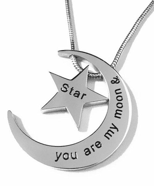 "Stainless Steel ""You Are My Moon & Star"" BFF Love Pendant Necklace-GoGetGlam"