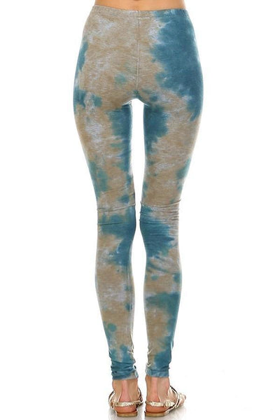 Stormy Sky Tie Dye Stretch Leggings - Boho Bohemian Decor