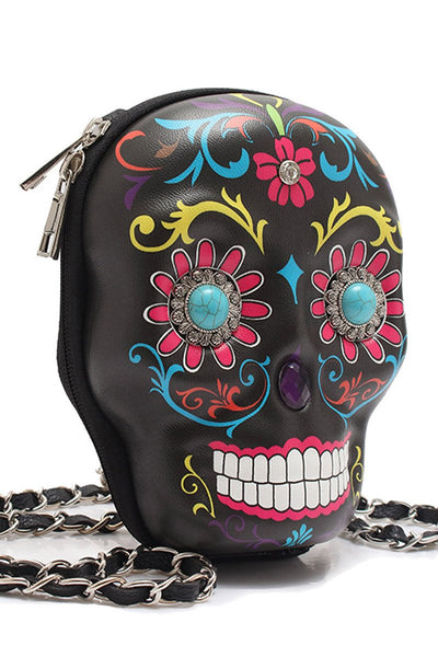 Sugar Skull Messenger Bag With Chain Strap-GoGetGlam