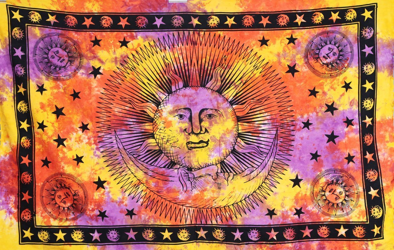 Sun Moon Celestial Orange Psychedelic Wall Bed Table Twin Tapestry-GoGetGlam